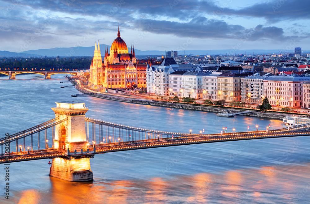 Budapeszt most łańcuchowy, parlament, Węgry