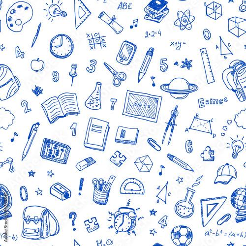 Ręcznie rysowane wzór z szkoła znak i symbol elementy rysunków.