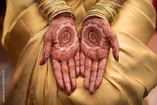 Мехенди z Малаяли panny młodej na ślub indyjskich Hinduskich