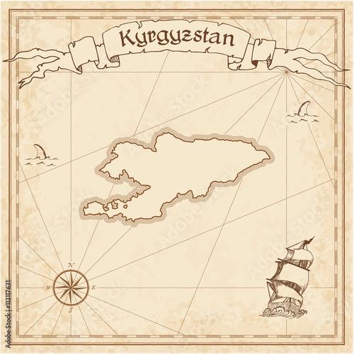 Kirgistan starą mapę skarbów. Grawerowane szablon sepia pirackiej mapie. Stylizowane pirackie mapy na papierze rocznika.