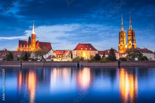 Atrakcje katedra, Odry. Wrocław, Polska, w nocy. Skyline