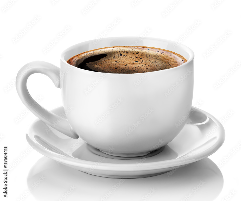 biała filiżanka kawy na białym tle na białym tle