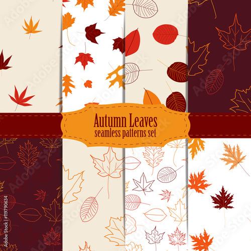 Zestaw bez szwu wzór z kolorowe jesienne liście.