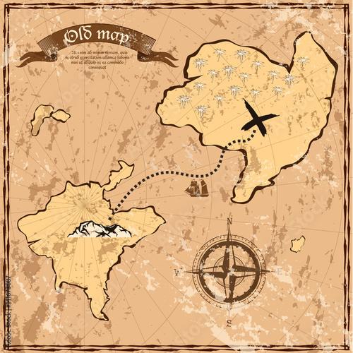 Stary lub stara mapa z wyspami i statek
