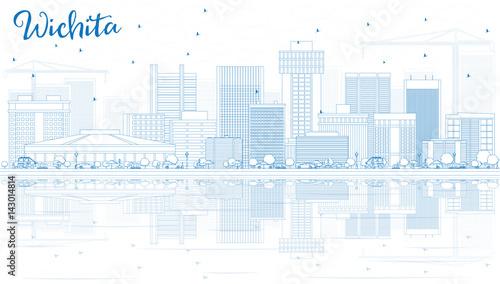 Plan Wichita krajobraz z niebieskim budynków i refleksje.