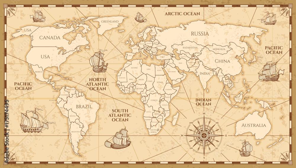 Wektor antyczna mapa świata z krajami granice