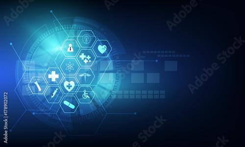 opieka zdrowotna ikonę szablon medycznej innowacyjnej koncepcji tło projektu