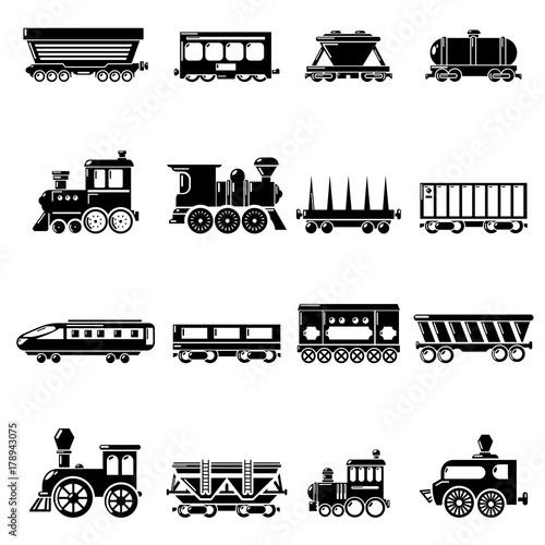 Zestaw ikon dla wagonów kolejowych, prosty styl