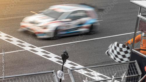 Ruchu wyścigu Blur wyścigi samochodowe na prędkość, tor, wyścigi supercar na ulicy Międzynarodowej toru przekraczania mety z rozmycia ruchu.