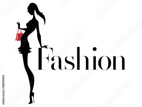 Czarny i biały moda sylwetka kobiety z czerwoną torbą, logo butiku, sprzedaż banerów, reklamy handlowej. Ręcznie rysowane wektor ilustracja