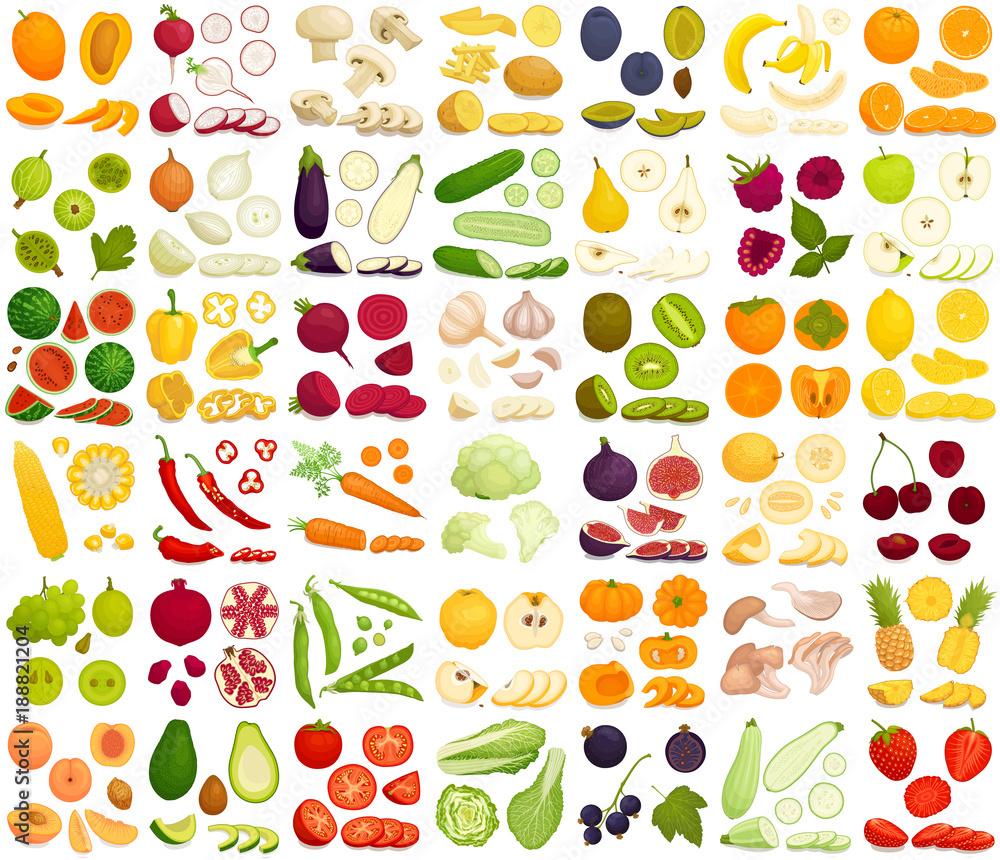 Wektor zestaw produktów. Różnorodne warzywa, owoce i jagody w stylu cartoon. Krojone, całe, połówki, i pokroić w plasterki różnych produktów.