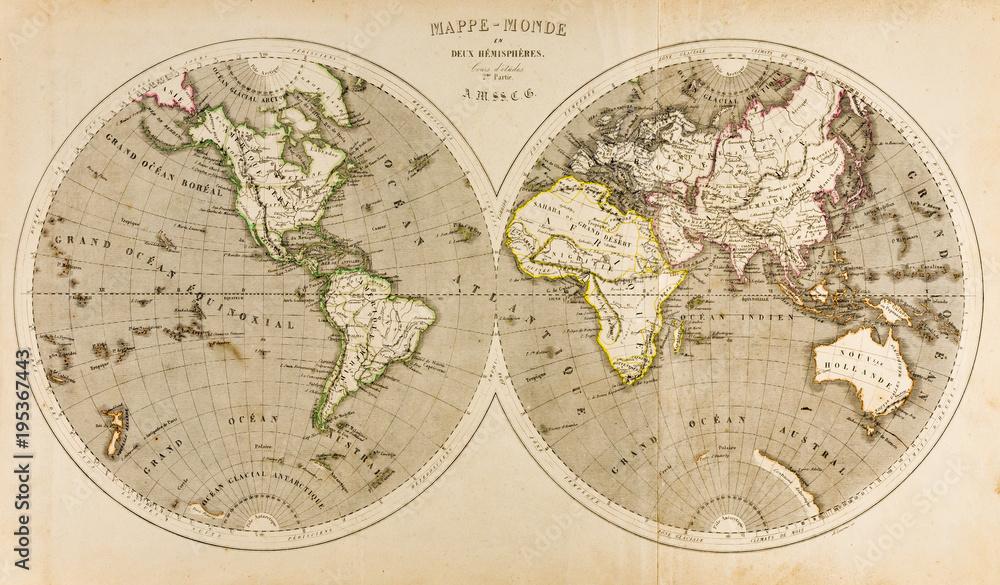 Antyczna mapa świata w dwóch Półkulach, Retro, 19 wiek