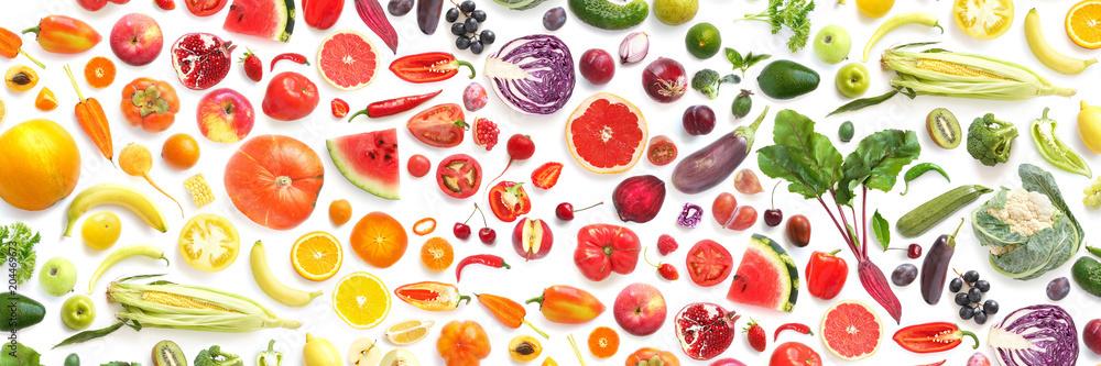 wzór z różnych świeżych warzyw i owoców, na białym tle na białym tle, widok z góry, mieszkanie rozłożyć. Skład produktów spożywczych, koncepcji zdrowego odżywiania. Jedzenie tekstury.
