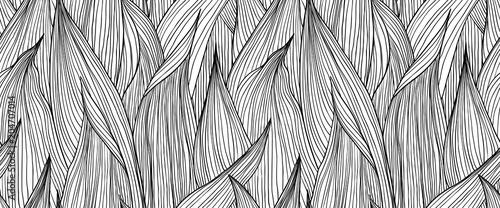 Wzór, ręcznie rysowane szkic czarnym atramentem długie formy liści na białym tle