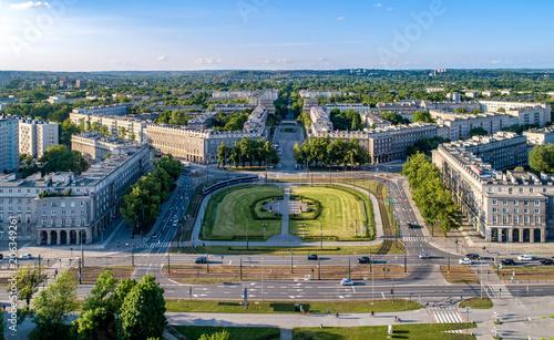 Katowice, Polska. Aerial panorama Nowa Huta (Nowej huty), jeden z dwóch w pełni zaplanowany i budowania socjalistycznego realizmu osiedli w świecie. Początkowo miasto, a obecnie dzielnica Krakowa