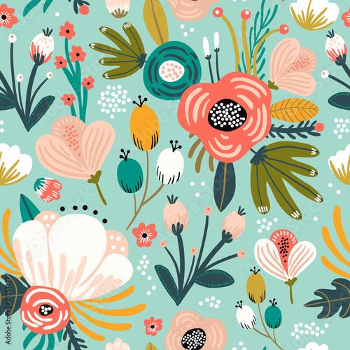 Wzór kwiaty,palmy, liście. Kreatywnych kwiatowy tekstury. Doskonale nadaje się do tkanin, tkaniny ilustracji wektorowych