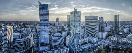 Warszawa, miasto, nowoczesny, drapacz chmur o zachodzie słońca-Panorama
