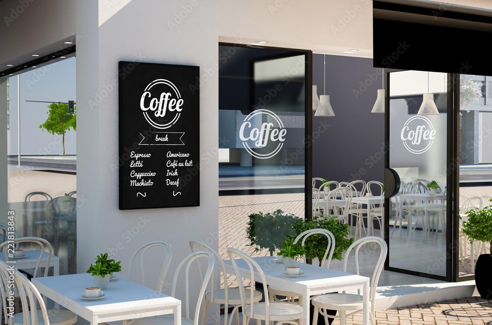 tablica plakat układ w kawiarni fasada