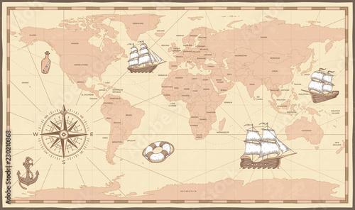 Antyczna mapa świata. Vintage retro kompas i statek na starożytnej morskiej mapie. Stare granice krajów ilustracji wektorowych