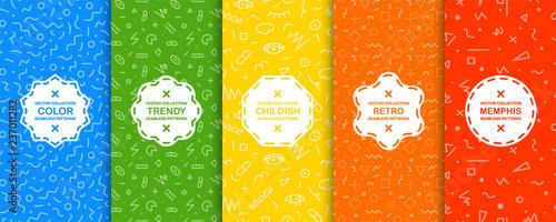 Kolekcja jasnych kolorowych wzór - Memphis projekt. Modne jasne wektor tła. Moda w stylu lat 80-90