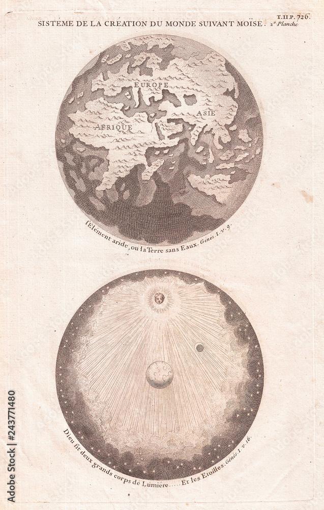 Mapa Starożytnego świata, pokazując stworzenie Wszechświata, Калмет 1728
