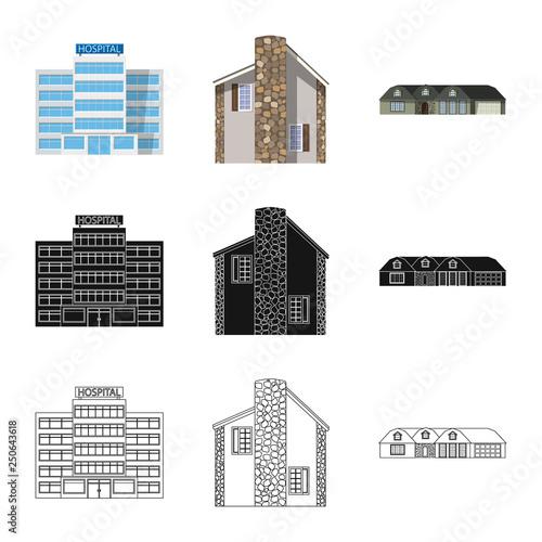 Wektor projekt budynku i os znak. Zestaw budynki i ikona ilustracja dachu na magazynie.