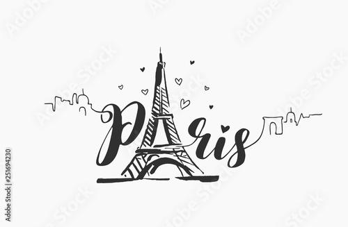 Wektor ręcznie rysowane ilustracja z Paryża słynny budynku sylwetka na białym tle.