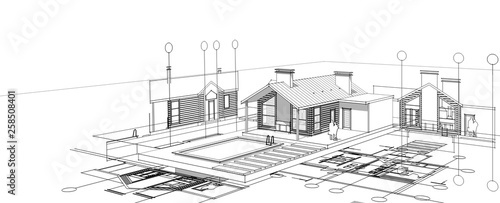 dom, projekt architektoniczny, szkic 3D ilustracja