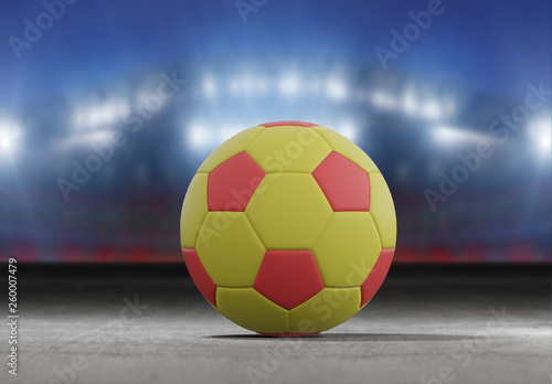 Piłka na murawie stadionu miasta - 3D renderowania