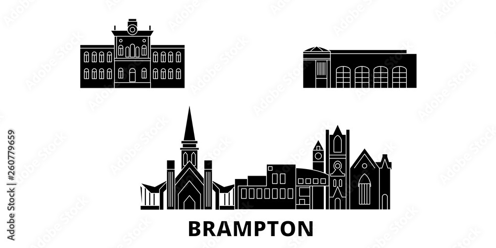 Kanadzie, Брамптон płaskim podróży krajobraz zestaw. Kanadzie, Брамптон Czarny miasto wektor panorama, ilustracja, atrakcje turystyczne, zabytki, ulice.