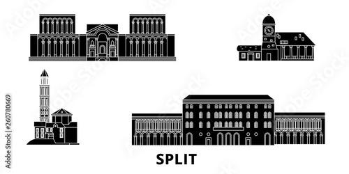 Chorwacja, Split płaskim podróży krajobraz zestaw. Chorwacja, Split Czarny miasto wektor panorama, ilustracja, Miejsca turystyczne, zabytki, ulice.
