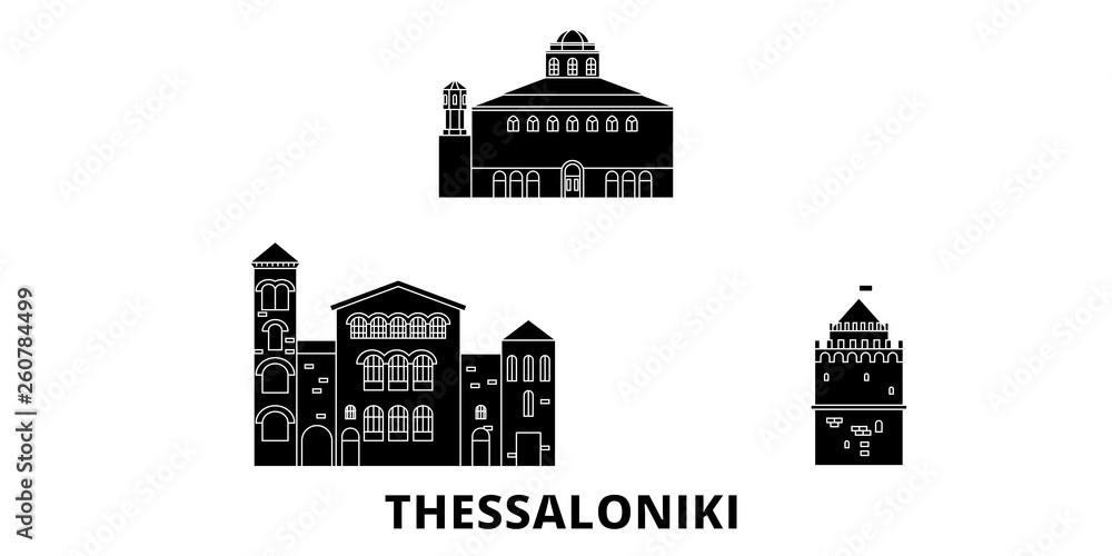 Grecja, Saloniki mieszkanie w podróży krajobraz zestaw. Grecja, Saloniki Czarny miasto wektor panorama, ilustracja, Miejsca turystyczne, zabytki, ulice.
