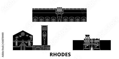Grecja, zestaw płaskich podróży krajobraz Rodos. Grecja, Czarny miasto wektor Rodos panorama, ilustracja, zabytki, podróż, miasto, ulica.