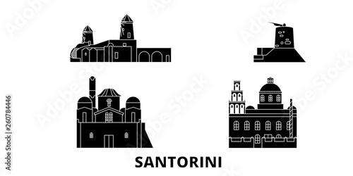 Grecja, Santorini płaskim podróży krajobraz zestaw. Grecja, Santorini Czarny miasto wektor panorama, ilustracja, zabytki, podróż, miasto, ulica.