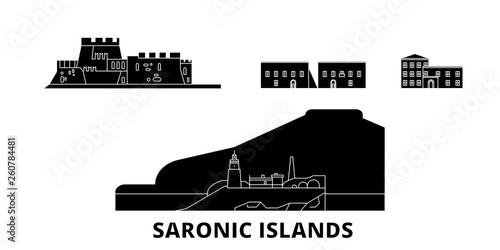 Grecja, saronic islands zestaw płaskich podróży krajobraz. Grecja, saronic islands Czarny miasto wektor panorama, ilustracja, Miejsca turystyczne, zabytki, ulice.