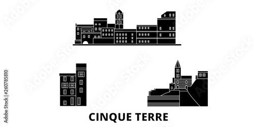 WŁOCHY Cinque Terre płaskim podróży krajobraz zestaw. WŁOCHY Cinque Terre Czarny miasto wektor panorama, ilustracja, Miejsca turystyczne, zabytki, ulice.