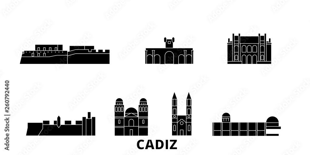 Hiszpania, Kadyks płaskim podróży krajobraz zestaw. Hiszpania, Kadyks Czarny miasto wektor panorama, ilustracja, Miejsca turystyczne, zabytki, ulice.