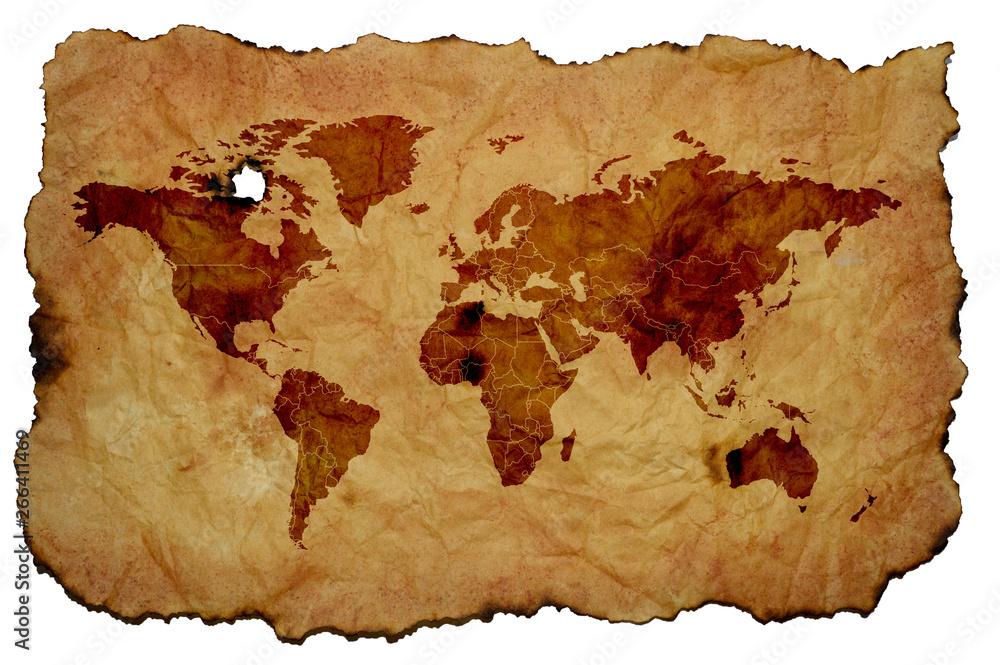 Mapa świata na stary pożółkły pergamin