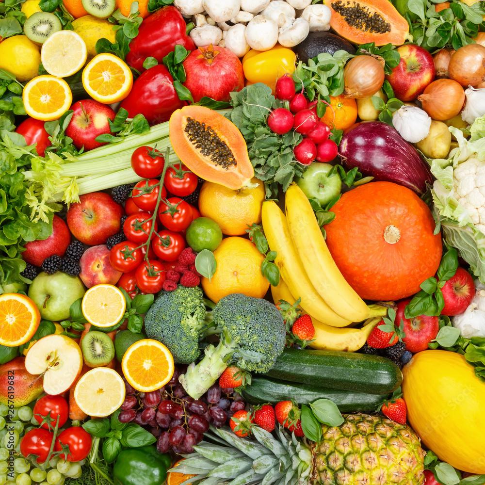 Owoce i warzywa kolekcja tło jedzenie kwadratowe jabłka pomarańcze pomidory, świeże owoce i warzywa