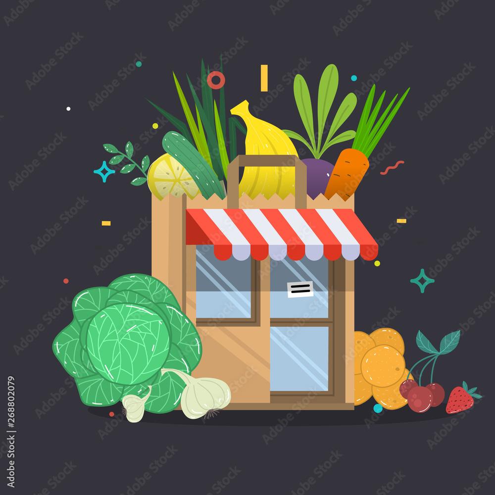 Lokalne owoce i warzywa, sklep, Dom. Produkty pocztowe w przedniej części sklepu.