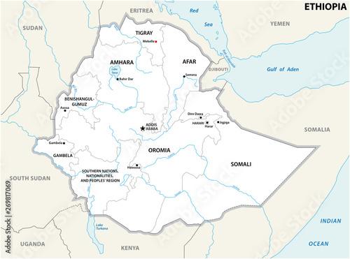 Administracyjne i polityczne Etiopii mapie