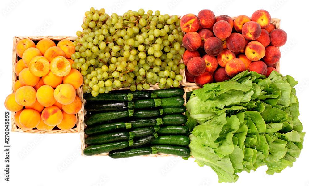 Owoce i warzywa w kosz, widziana z góry