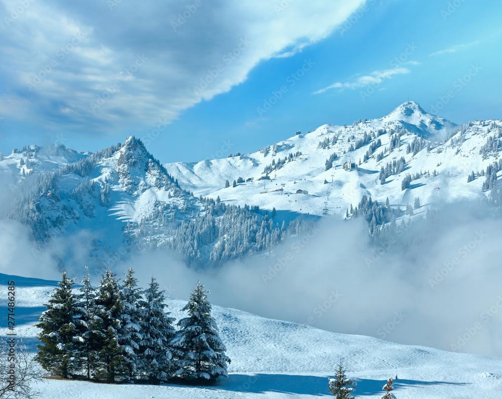 Zimowy krajobraz górski, Austria, Bawaria