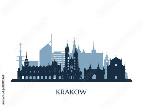 Kraków krajobraz, sylwetka czarno-biały. Ilustracji wektorowych.