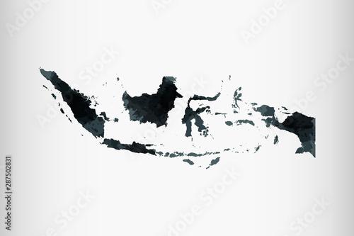 Indonezja akwarela mapa wektor ilustracja kolor czarny na jasnym tle, za pomocą pędzla w formie papierowej stronie
