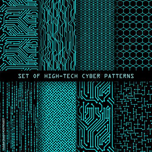 Zestaw bez szwu cyber-modeli. Głównej tekstury. Cyfrowy high-tech, styl wektor tła.