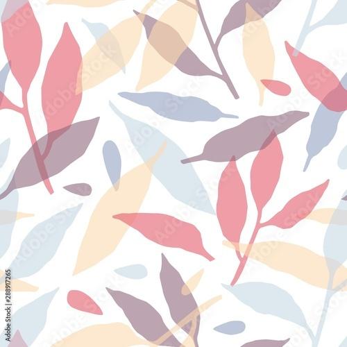 Gałęzie drzew ręcznie rysowane wektor wzór. Kolorowych liści sylwetki dekoracyjnej fakturze. Streszczenie czerwony, niebieski i żółty gałązki z liśćmi wektorowych. Ogród botaniczny tekstylia, projektowanie tapet.