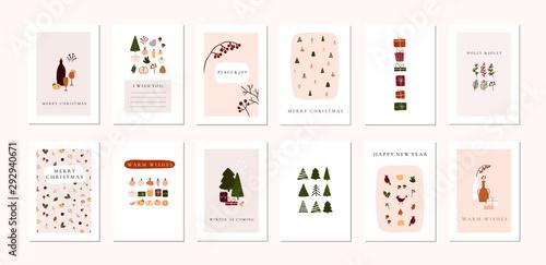 Zestaw boże Narodzenie Nowy rok zima święto kartki świąteczne dekoracje