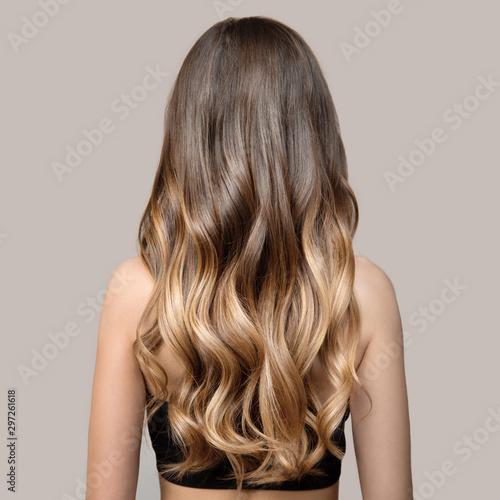 Portret piękna młoda brunetka kobieta z długie falowane włosy. Widok z tyłu.