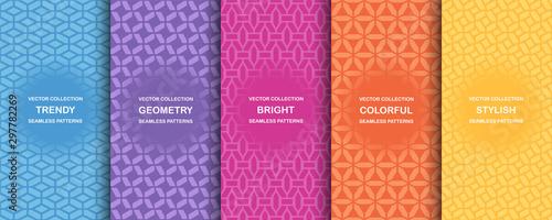 Kolekcja kolorowe geometryczne proste bez szwu wzorów - jasne twórcze symetryczny tekstury. Wektor powtarzalne minimalistyczne tło